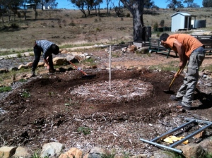 Digging in the water harvesting paths