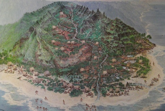 A cartoon of an A'hapua'ha system on Kauai'i. This systems of landscape management was used throughout the Hawai'ian islands and much of polynesia