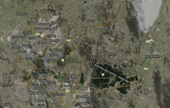Bungendore in relation to Canberra